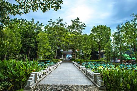 中国风古建筑石板路背景图片