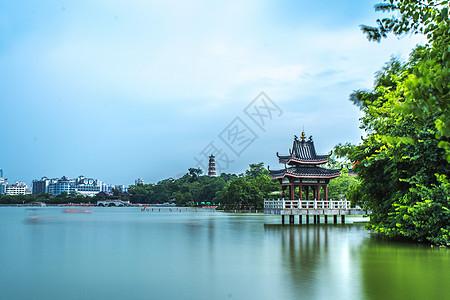 中国风古建筑自然风光背景图片