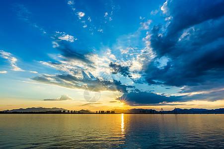 日落江景图片