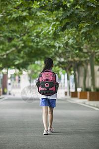 女同学在学校背着书包放学了图片