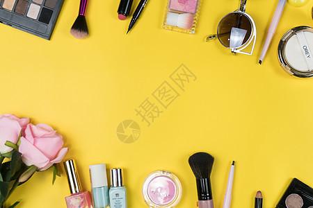 化妆品平铺拍摄图片