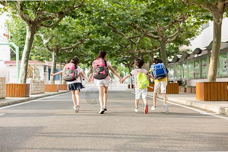 开学季手拉手去上学的同学们图片