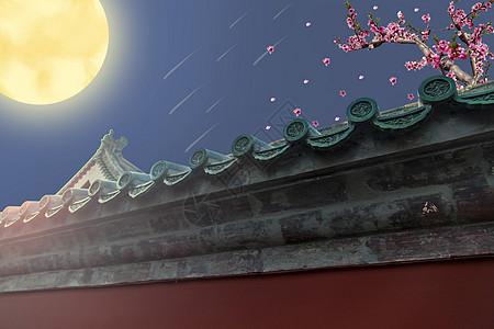 月圆梅花古宅背景图片