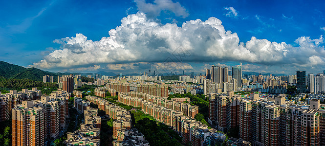 蓝天白云下的城市风光图片