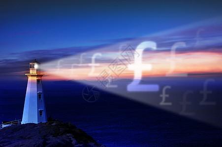 灯塔照射出英镑符号图片