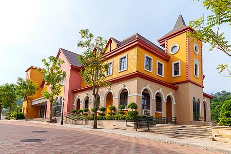 彩色欧式建筑图片