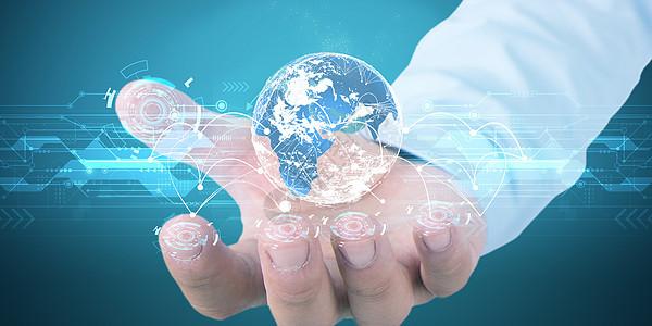 世界上的云连接到商人手指图片