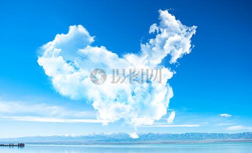 蓝天之镜白云中国图片
