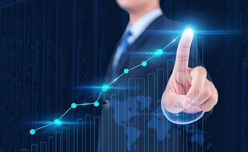 计算机和商业战略为概念的商人手指图片