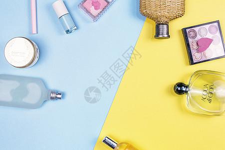 创意撞色丽人化妆品图片