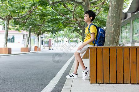 校园林荫道坐着等待家长的小学生图片