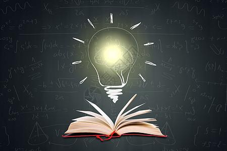 黑板书本灯泡图片