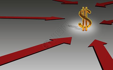 美元符号和红色箭头图片