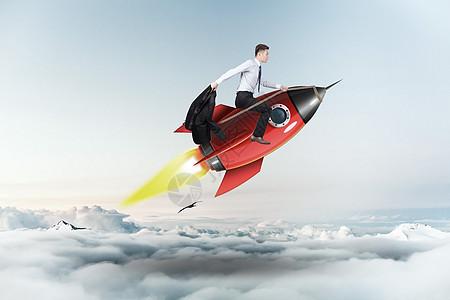 火箭上的商务男图片