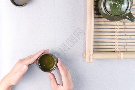 清新文艺品茶图片