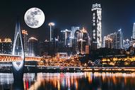 重庆中秋城市圆月背景图片
