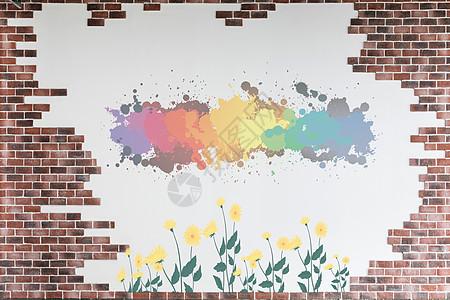 白墙上的涂鸦画图片
