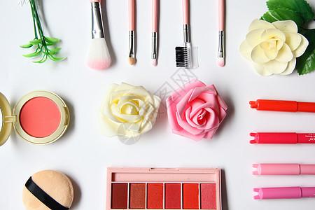 粉嫩时尚美妆白色背景图图片