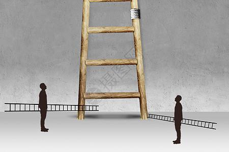 拿着梯子的人图片