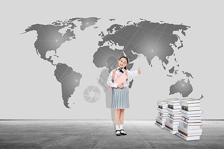 出国留学世界地图前读书的女大学生图片