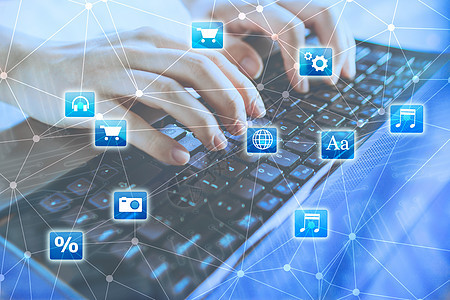 手按键盘与高科技媒体图标图片