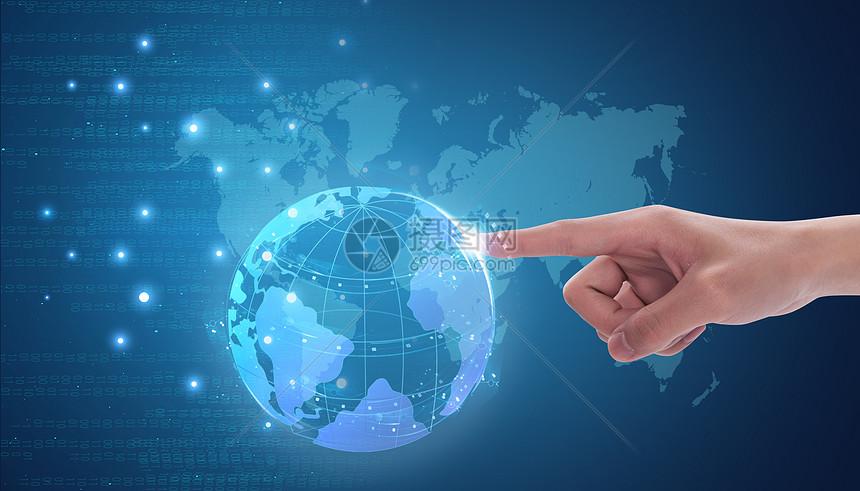 手指地球科技背景图片