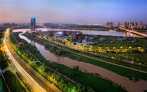 西安城市边际线夜景图片