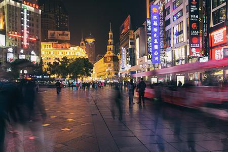 上海南京路商业步行街夜景图片