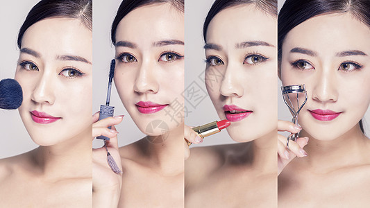 美女美妆美容动作拼图图片