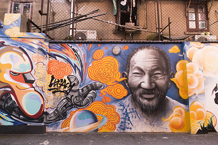 城市中的墙绘涂鸦艺术图片