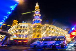 上海城市夜景慢门拍摄图片