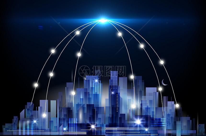 未来城市信息光束图片
