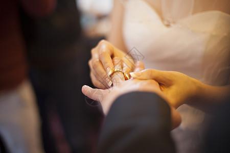 新娘给新郎带上了戒指图片