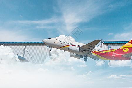 城市飞机起飞图片