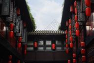 红灯笼中式建筑图片