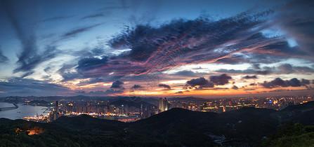 大连星海广场城市建筑夜景全景图图片