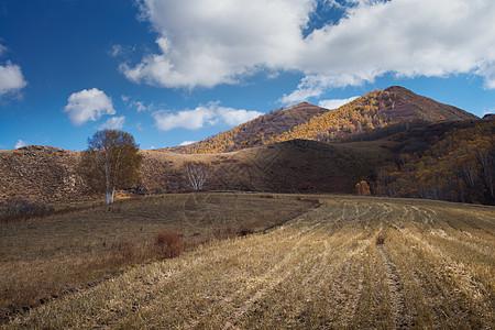 秋天草原山脉风景图片