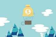 空中商务人与钱币符号图片