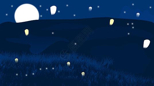 星空下的许愿灯图片