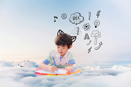 云端上画画的孩子图片