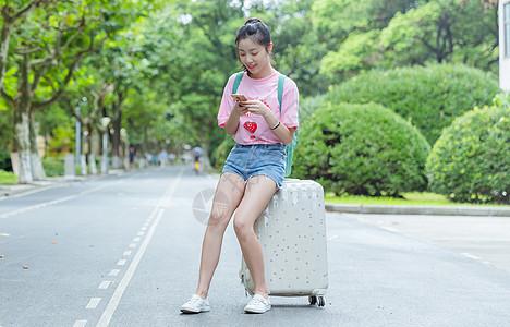校园女生坐旅行箱上看手机图片