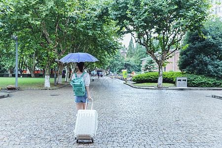下雨天女生拉旅行箱背影图片