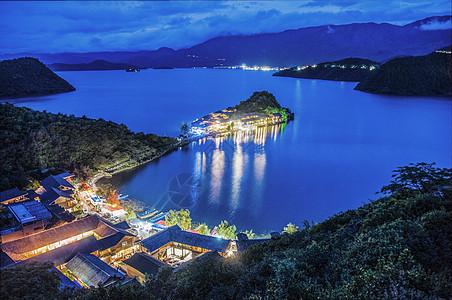 泸沽湖景区夜景图片