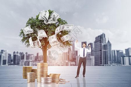 人与摇钱树图片