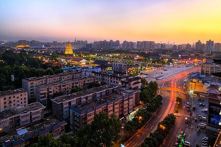 西安城市夜景大雁塔图片