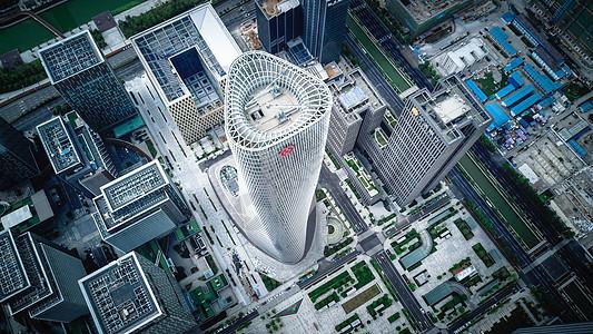 航拍宁波南商圈金融高楼图片