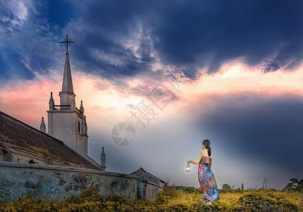 女人和教堂图片