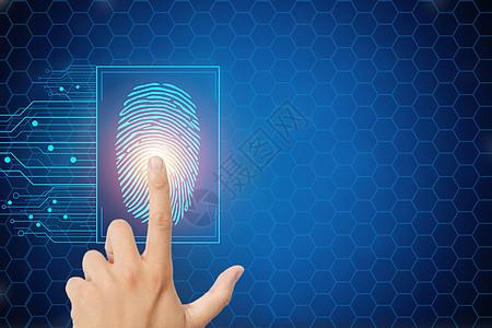 手按抽象数字指纹按钮图片