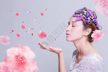 女人与花图片
