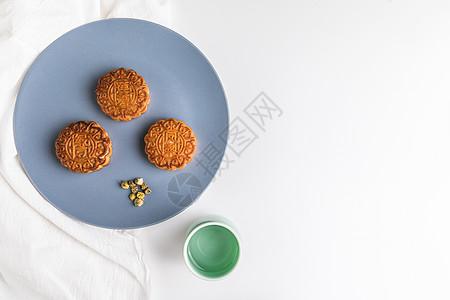 中秋节月饼与花茶图片